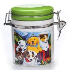 Зеленая банка для сыпучих продуктов Собачки