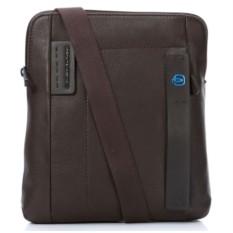 Мужская коричневая сумка с ремнем Piquadro Pulse