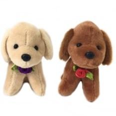 Музыкальная мягкая игрушка-брелок Собачка с розочкой
