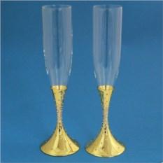 Свадебные бокалы со стразами, цвет золотой