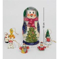 Матрешка Снеговик из восьми частей