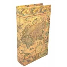 Малая книга-шкатулка из дерева Карта мира