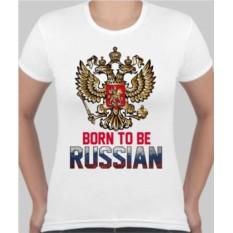 Женская футболка Born to Russian