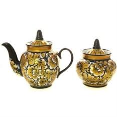 Чайный сервиз с художественной росписью Кудрина