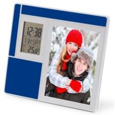 Синяя рамка для фотографии с часами, датой и термометром