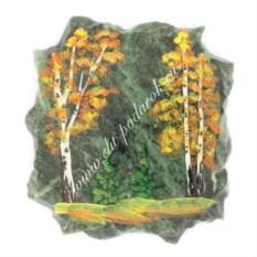 Магнит из змеевика Осенний пейзаж
