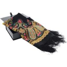 Черный павловопосадский платок