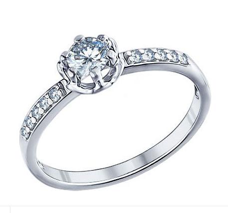 Серебряное кольцо с крупным фианитом Sokolov