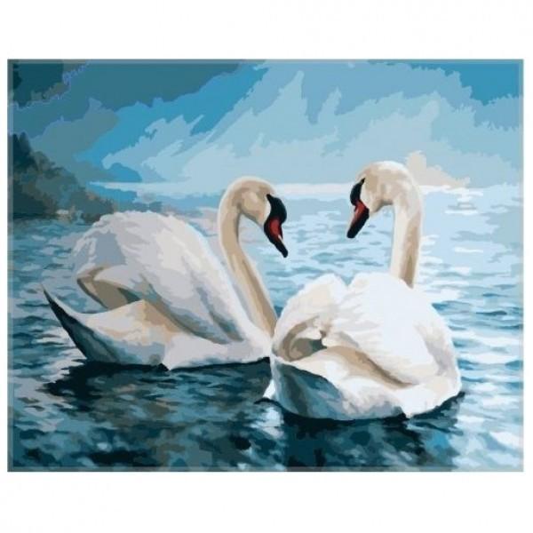 Картина-раскраска по номерам на холсте Лебеди