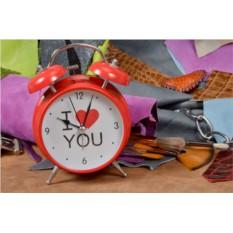 Красный будильник с двумя звонками I Love You