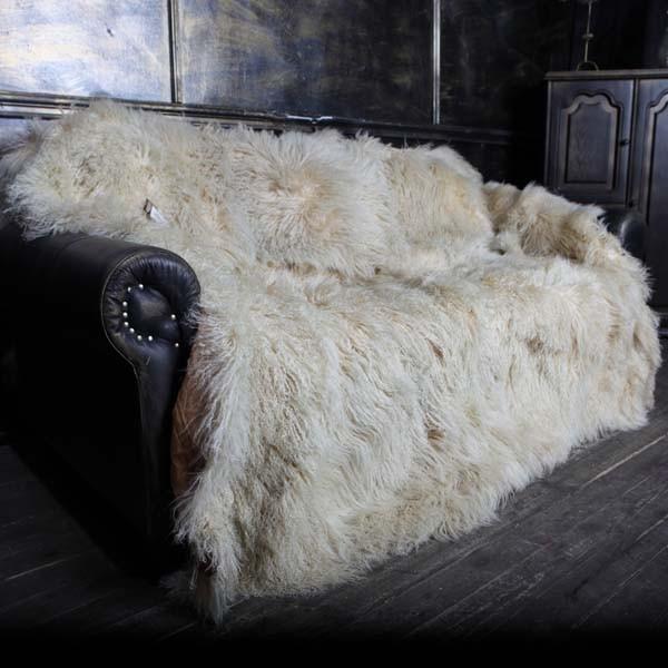 Меховое покрывало лама