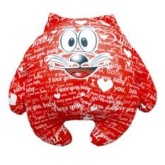 Красная подушка-игрушка Котик I love you