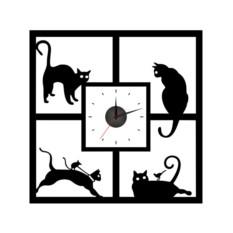Настенные часы-наклейки Кошки