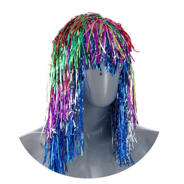 Карнавальный парик из разноцветной мишуры