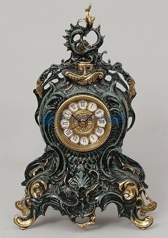 Часы из бронзы Коста Брава, цвет синий с золотом