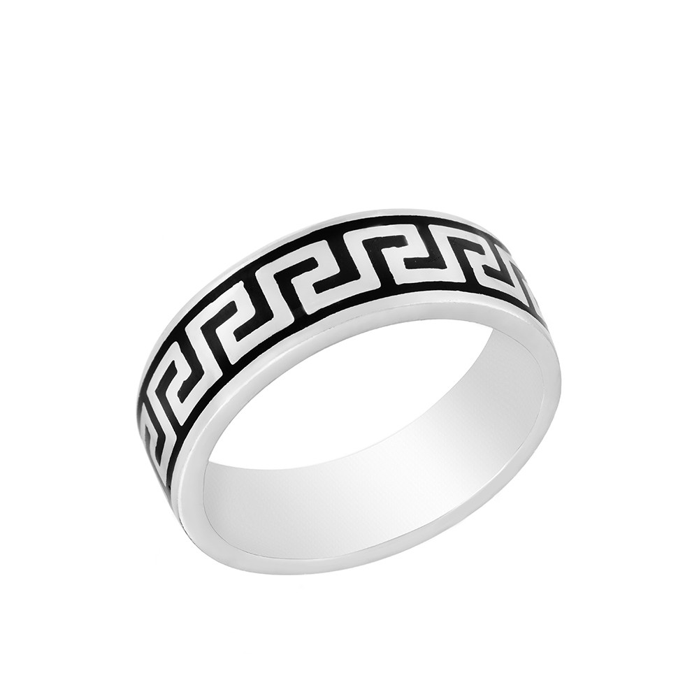 Мужское кольцо из родированного серебра с эмалью
