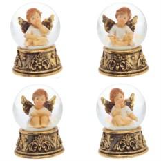Фигурка в стеклянном шаре Ангел с золотыми крыльями