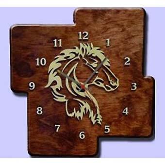 Деревянные настенные часы «Лошадь»