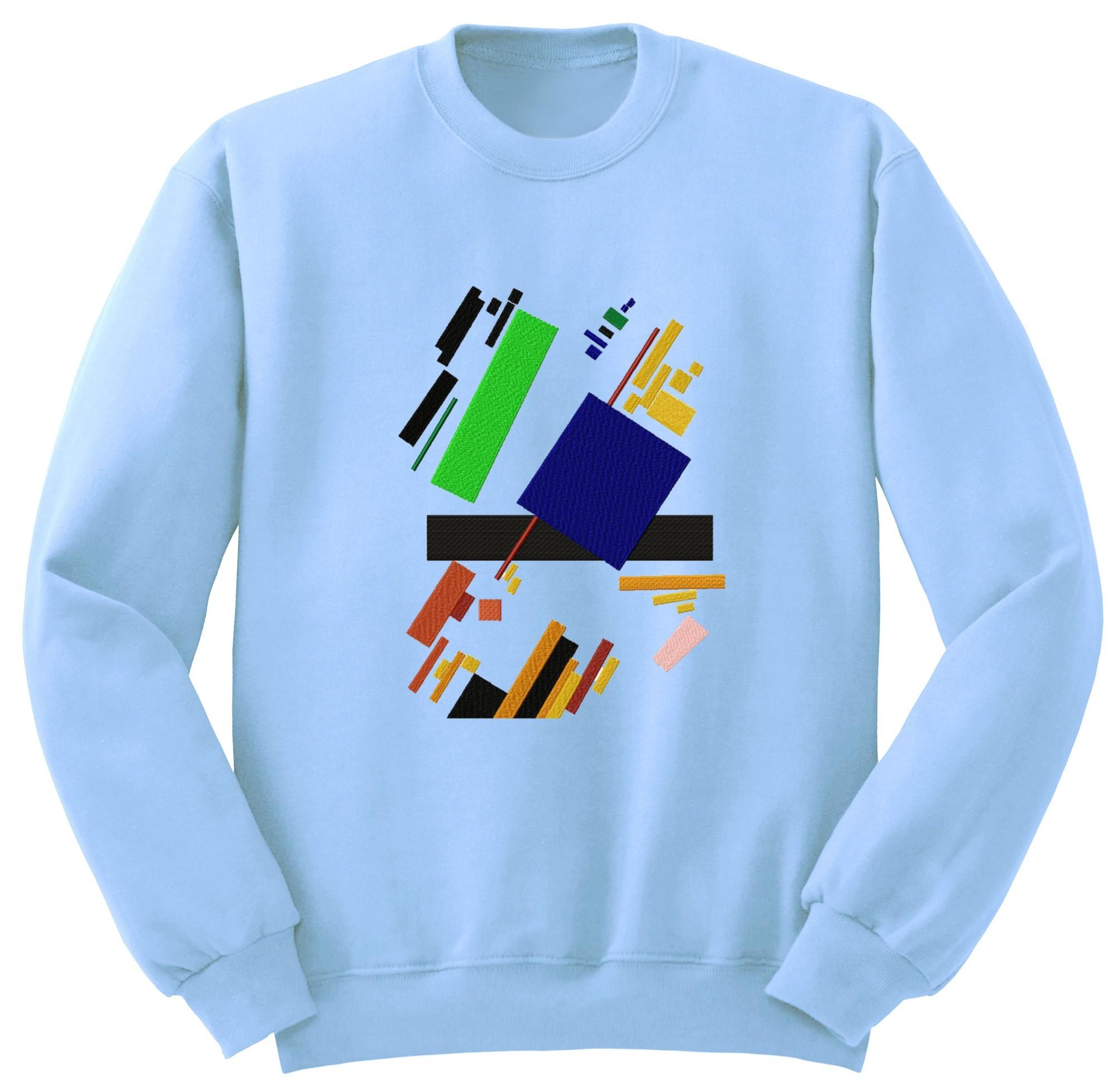 Голубой свитшот с арт-вышивкой SUPREMATIC