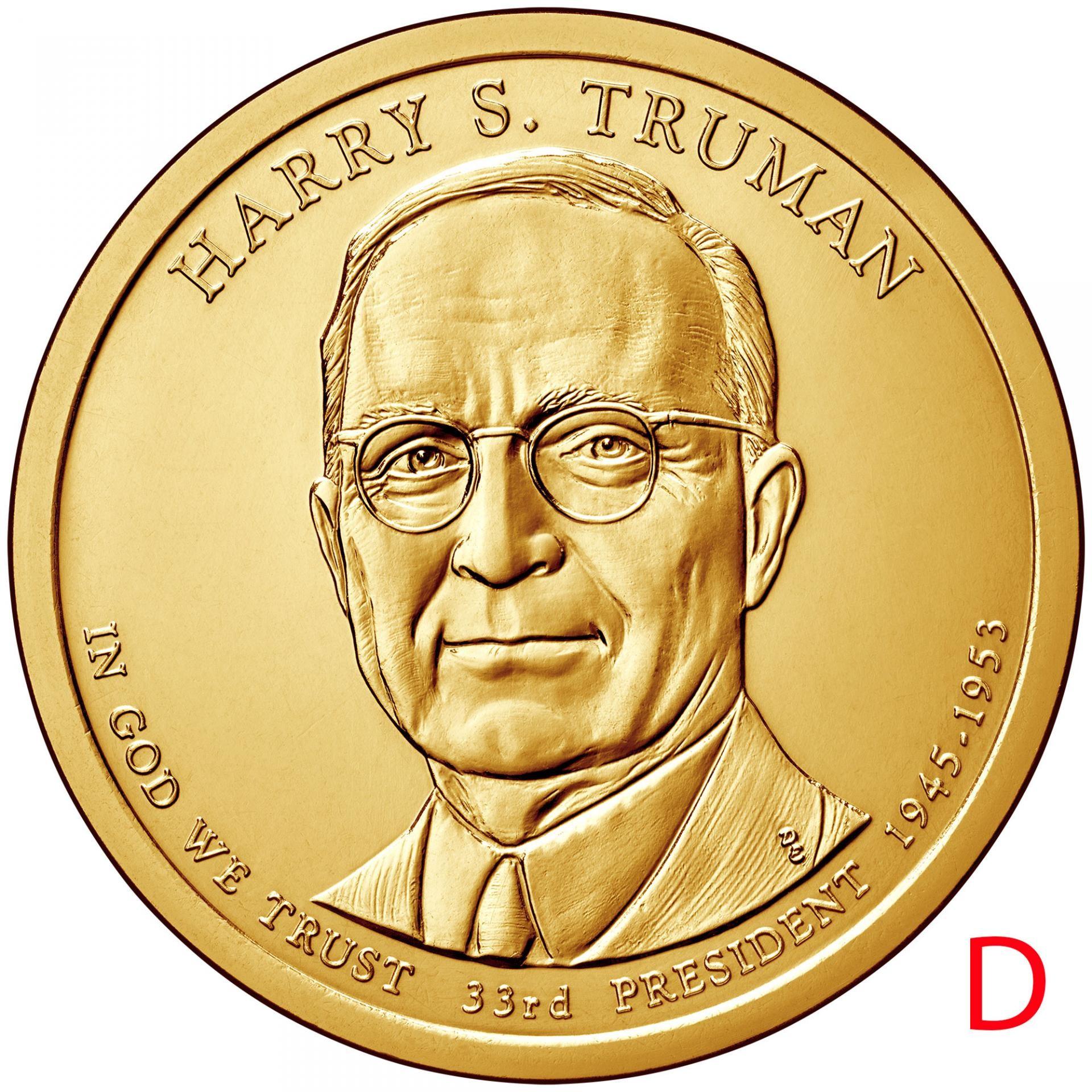 Монета 1 доллар Гарри Трумен. 33-й президент США