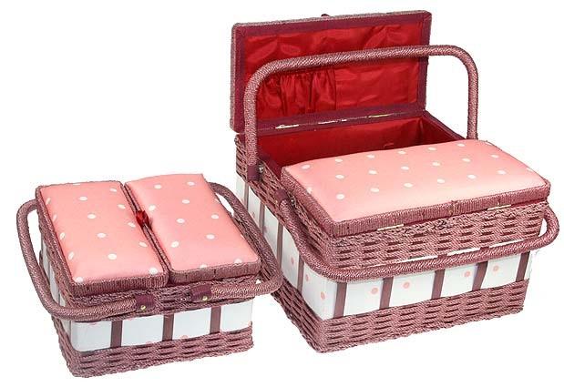 Набор шкатулок для рукоделия из 2-х шт. (розовые)