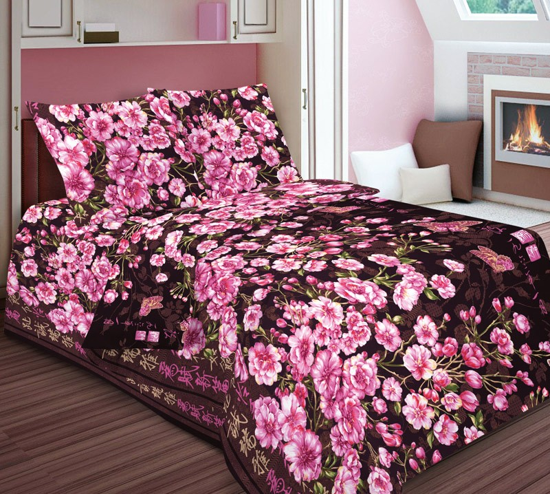 Комплект постельного белья Вечерний сад розовый (бязь)