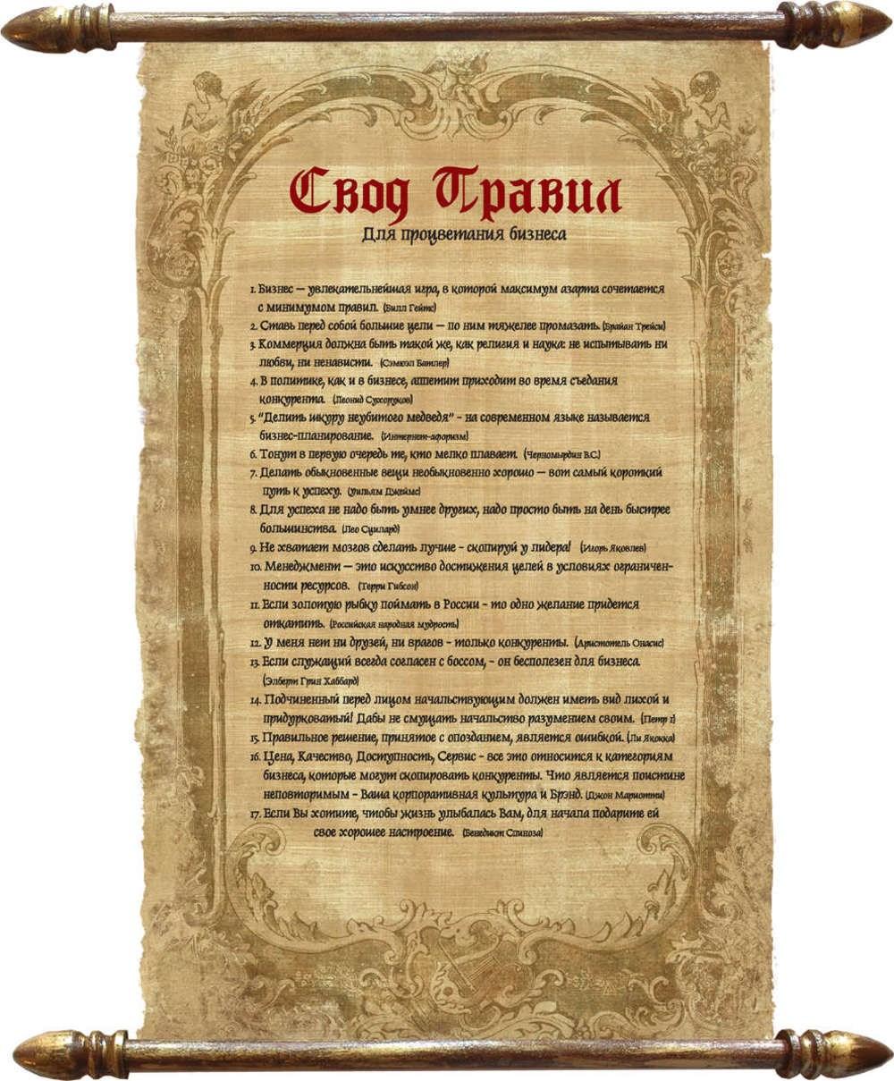 Поздравление Свод правил для бизнеса на папирусе