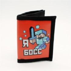 Черно-красный кошелек Minecraft Стив