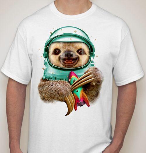 Мужская футболка Ленивец космонавт