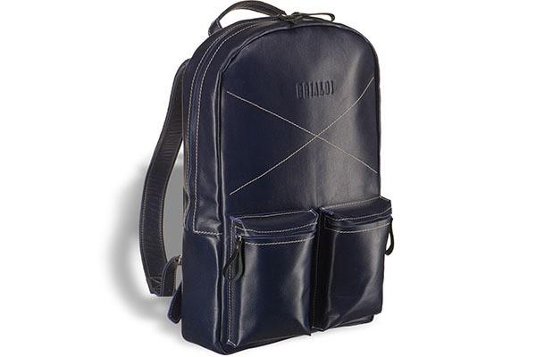 Синий кожаный рюкзак Brialdi Bismark