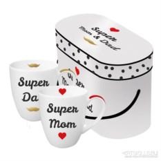 Набор кружек в подарочной упаковке Super Mom & Dad