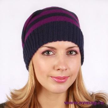 Женская вязанная полосатая шапка
