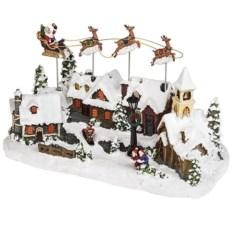 Светящееся и двигающееся украшение Дед Мороз над городом