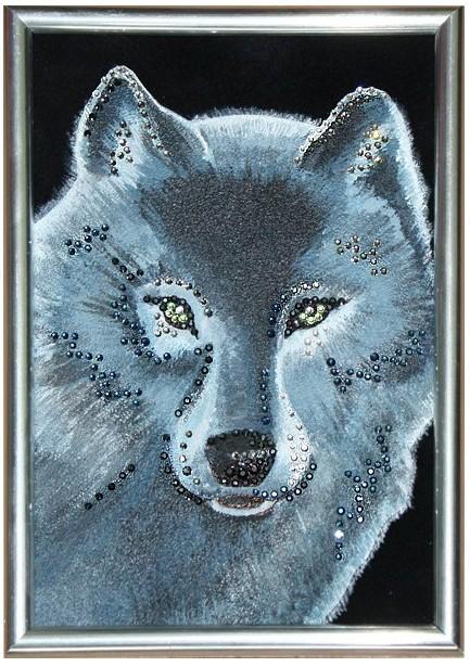 Картина с кристаллами Swarovski Волк