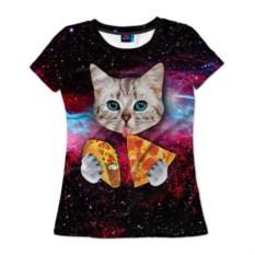 Женская футболка Кот с едой