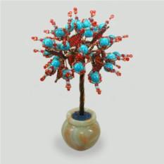 Дерево любви и здоровья из бирюзы в вазочке из оникса