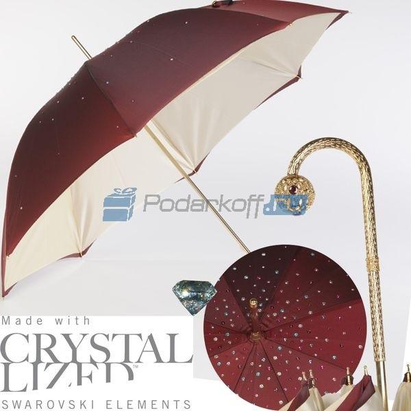 Женский зонт-трость Pasotti Swarovski Bordo Style