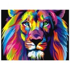 Картина-раскраска по номерам на холсте Радужный лев