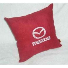 Красная подушка с белой вышивкой Mazda