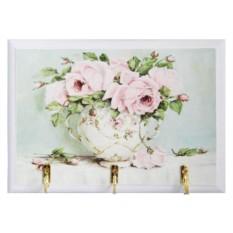 Открытая настенная ключница Розовые розы в вазе