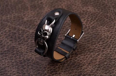 Браслет Cojet (черный, с черепом; нат. кожа)
