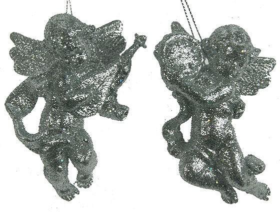 Игрушка ёлочная Ангел, серебро