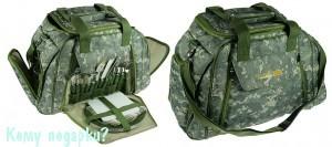 Набор для пикника в сумке серо зеленого ццвета