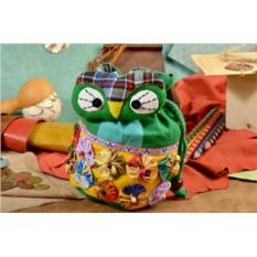 Зеленый текстильный рюкзачок Сова