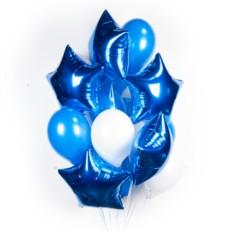 Облако бело-синих шариков с синими звездами