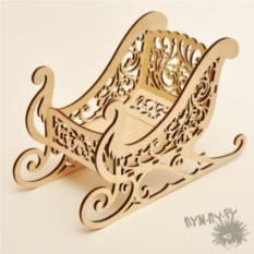 Деревянная конфетница Новогодние сани