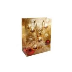 Золотистый бумажно-ламинированный пакет Новогодний