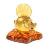 Фигурка-талисман Свинка с монеткой