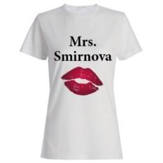 Именная женская футболка «Mrs.»