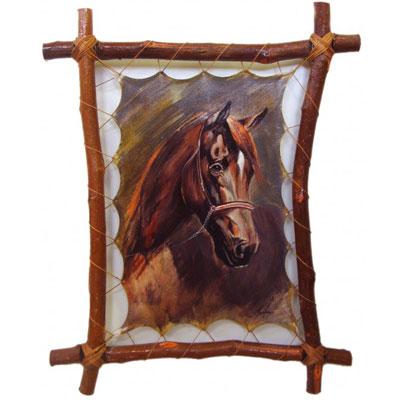 Картина на коже «Тёмная лошадка»